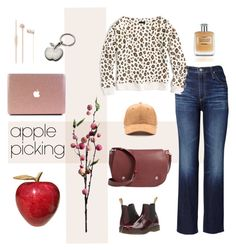 """Harvest Time: Apple Picking ..."" by lutgard-m ❤ liked on Polyvore featuring AG Adriano Goldschmied, J.Crew, Dr. Martens, Wyld Home, Longchamp, Personalized Planet, Trussardi and applepicking"