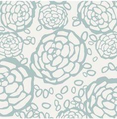 Oh Joy! For Hygge & West -Petal Pusher Wallpaper - White & Blue - Wallpaper - Walls