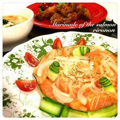 コストコのアトランティックサーモンをマリネにして もーほんとこのサーモンの右に出るサーモンはない!! 幸せです゚+。*(*´∀`*)*。+゚  それと唐揚げと豚汁… 変な組み合わせの夕食ァ,、'`( ꒪Д꒪),、'`'`,、 - 150件のもぐもぐ - アトランティックサーモンのマリネ✳︎唐揚げ✳︎豚汁 by rirunon