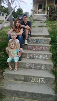 First day of school pictures. On our front steps.