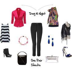 """Day & Night - One Pair Black Slacks"" by angelarcher5 on Polyvore"