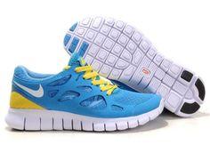 Nike Free Run 2 University Blue White Yellow Womens Shoes On Sale
