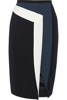 Peter Pilotto Mila Color-Blocked Crepe Skirt - Work Peter Pilotto's sculptural pencil skirt into your desk-to-dark wardrobe. This color-blocked crepe style has a front slit and a 3D, folded white trim . Black, white and midnight-blue crepe