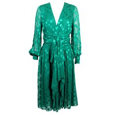 Christian Dior Couture Emerald Green Chiffon Dress, 1970s   From a collection of rare vintage evening dresses at https://www.1stdibs.com/fashion/clothing/evening-dresses/