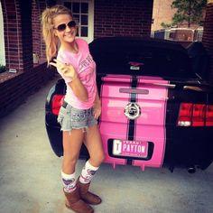 cute pink car blonde