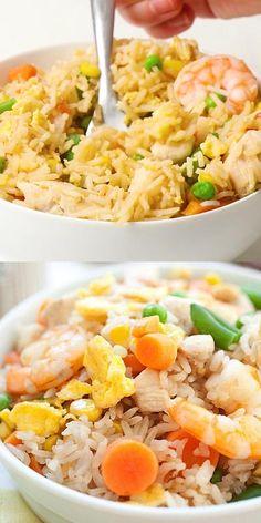 Best Fried Rice Recipe, Ham Fried Rice, Shrimp Fried Rice Recipe Video, Most Delicious Recipe, Delicious Dinner Recipes, Healthy Recipe Videos, Healthy Salad Recipes, Indian Food Recipes, Asian Recipes