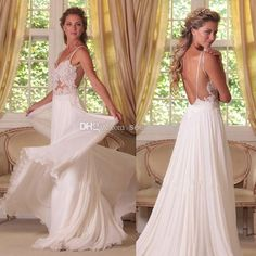 Cheap Low Back Wedding Dresses - Discount Cheap Flowy Beach Wedding Dresses 2014 Sheer Straps Online with $131.94/Piece | DHgate