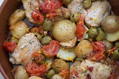 Chicken thighs with green olives tomato and lemon recipe, Herald on Sunday – visit Eat Well for New Zealand recipes using local ingredients - Eat Well (formerly Bite) Roasted Chicken Thighs, Easy Family Dinners, Chicken Spices, One Pan Meals, Lemon Recipes, Lunches And Dinners, Recipe Using, Tray Bakes, Olives