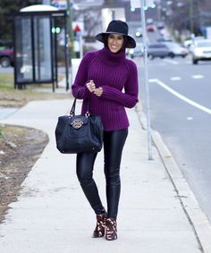 Fashion Tips for Your Body Shape| grape sweater, purple turtleneck sweater, black and purple outfit idea, what sweater look best on a larger stomach? what sweaters are the most flattering for a baby bump? pregnancy style, winter pregnancy outfit ideas, flattering sweater styles, sweaters for an apple shape, the style contour, winter outfit ideas, how to wear leather pants