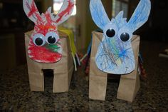 Paper Bag Donkeys!  SUPPLIES: paper lunch bags, felt, yarn, googly eyes, glue, scissors, crayons, & cardstock ::: Make donkeys that you and your LIttle can decorate.