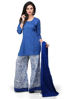 BLUE COTTON READYMADE KAMEEZ WITH PALAZZO