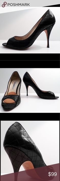Brian Atwood Peep Toe Black, patent quilted leather peep toe. I have added a felt insert because my feet were slipping. Comfortable shoe for work or night out. Brian Atwood Shoes Heels