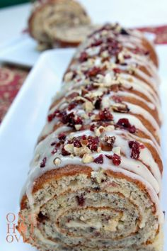 Banana Cream Cheese Cake Roll with Pecans Cranberries and Ginger