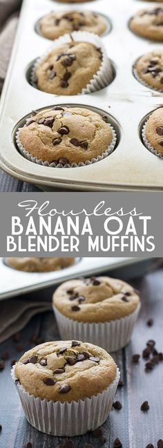 A yummy and easy recipe for Flourless Banana Oat Blender Muffins that you can easily whip up in your blender that don't include any butter or oil either! Muffins Blueberry, Zucchini Muffins, Healthy Muffins, Healthy Treats, Healthy Baking, Healthy Desserts, Healthy Breakfasts, Muffin Recipes, Baby Food Recipes