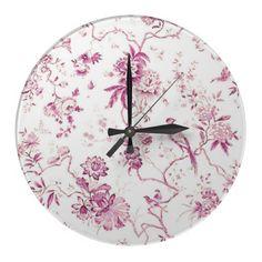 Cute Vintage Bird Pink Floral Round Clocks