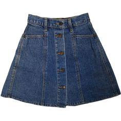 "90s ""JUST JEANS"" denim button front high waist mini/skater skirt sz... (76 BRL) ❤ liked on Polyvore featuring skirts, mini skirts, bottoms, denim, flared mini skirt, blue skater skirt, high waisted flare skirt, denim mini skirt and denim skirt"