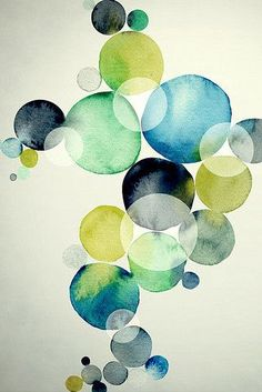 Blues and greens, transparent, tints: