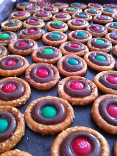 Pretzel Rings and Hershey Kisses (Bake @ 225 for 3-4 mins) Add M's and Press recipes
