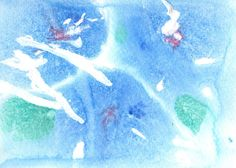 "Original Painting  5"" x 7""  Abstract in Blue, Green, Purple and White at AidforAbby, $7.99"