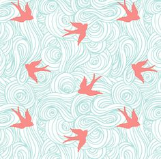 Baby Birds Fabric  Ocean Flight In Aqua And Coral by Spoonflower