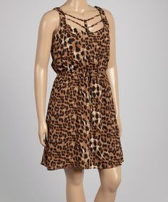 Another great find on #zulily! Brown & Black Leopard Shirred Dress - Plus by Zenobia #zulilyfinds