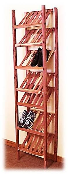 Organize your shoes in your closet with a basic shoe cubby made from aromatic red cedar. Easy to install and easy to customize.