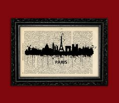 Paris France Horizontal World Cities Skylines Art Print - Building Europe Silhouettes Book Art Poster Dorm Room gift Wall Dictionary Print
