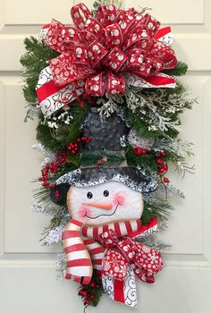 Snowman Christmas or Winter Pine Wreath Swag by WilliamsFloral on Etsy… Christmas Door Hangings, Mesh Christmas Tree, Xmas Wreaths, Christmas Snowman, Winter Wreaths, Christmas Ornaments, Wreath Crafts, Diy Wreath, Christmas Crafts