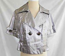 Trina Turk Cropped Trench Jacket Nos Metallic Silver Deadstock Swing Military 6