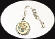 Art Deco Necklace Sarah Coventry Needle Point Porcelain Pendent - Statement Necklace Item CB 100738