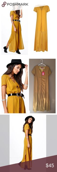 Chiffon button up maxi This mustard color button up maxi features short sleeves and side slit. Partially lined to mid thigh. Good quality polyester material. Does not include belt however add a belt for a fashionable statement! From UK designer sold by ASOS. ❌no trades Asos Dresses Maxi