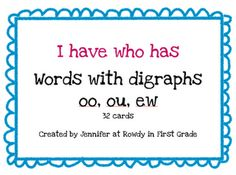 digraphs oo, ou, and ew