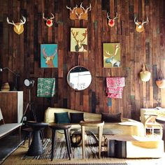 photo: Lisa Hsieh #organicmodernism #furniture #reclaimedwood #interiors #decor #deer #craftsman #color