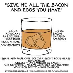 "Here's a recipe for the ""Give Me All The Bacon And Eggs You Have"" cocktail. #ronswanson"