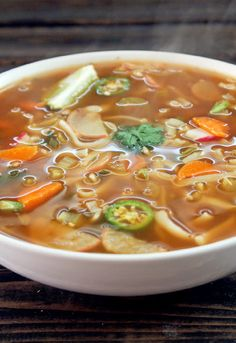 Fat Burning Spicy Thai Noodle Soup with Vegetable Broth Rice Noodles Salsa Celery Radishes Garlic Green Onions Cilantro Lime Carrots Serrano Peppers Ginger Rice Vinegar Black Pepper Chili Powder Onion Powder Salt. Thai Noodle Soups, Spicy Thai Noodles, Rice Noodles, Thai Vegetable Soup, Thai Soup Vegetarian, Zucchini Noodles, Udon Noodle Soup, Veg Soup, Vegetable Rice