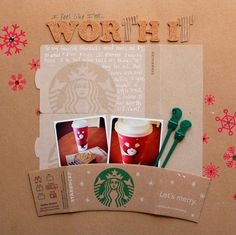 Document your love of a favorite coffee shop using ephemera from that store. Layout by Monica @ScrapInspired