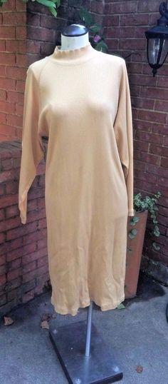 Vintage Mock Neck Long Sleeve Ribbed Midi Shift Dress #LandsEnd #Shift