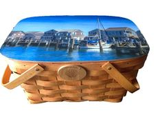 """Large Cooler Basket -  """"Nantucket Harbor"""" by Michael Petrizzo"""