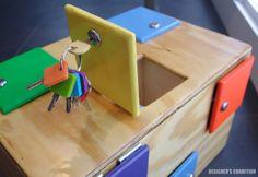 Toddler Latch Board: This is Oskar's Lock Box Woodworking Box, Woodworking Projects Plans, Toddler Fun, Toddler Toys, Kids Fun, Diy Lock, Latch Board, Puzzle Box, Montessori Toys