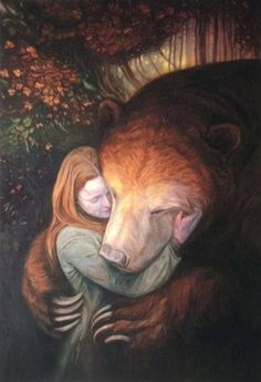 Image result for Woman and bear art