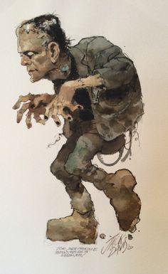 Frankenstein Watercolor Comic Art. Frankenstein Watercolor Artist:Jack Davis (All) Media Type:Paint - Watercolor Art Type:Commission For Sale Status: NFS