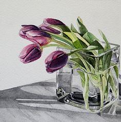 """Lavender Tulips"" watercolor on paper 6x6 by Carrie Waller www.carriewallerfineart.com"