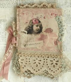 Mixed Media Fabric Collage Book of Valentines and Roses | eBay
