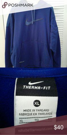 Therma Fit Hoodie Mens Royal Blue Nike Therma Fit hoodie. Hood is black inside. Made of therma fit material. Nike Shirts Sweatshirts & Hoodies