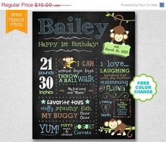 25% OFF Spring Sale Boy's Monkey Theme Chalkboard Sign - First Birthday Chalkboard - Printable Digital File Customized - Milestones Sign - P on Etsy, $12.35 AUD