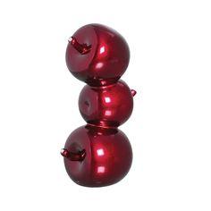 Trio Maçã em Cerâmica Decorativa. Objeto decorativo na cor vermelho metálico, para deixar ainda mais fashion a sua cozinha.