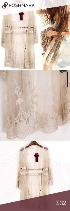 Preorder Only Lacey Vintage Cardigan Cover Up COMING SOON - NEW Beautiful lace cardigan style cover-up. Beautiful over swimsuits, dresses and worn with jeans! Tops