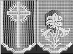 Lily altar filet crochet - Buscar con Google Mantel Filet crochet, cruces y azucenas, Mariano, Virgen Marìa
