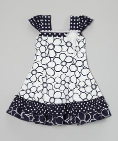 Black & White Daisy Puff-Sleeve Dress