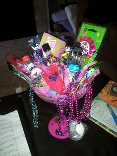 Bestfriends 21st Bday Gift Equiped With Mini Shots Shot Glasses Candy Fun Necklaces To Go Out It A Girl Pin Wear And VS Card